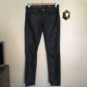 Madewell Skinny Skinny Jeans Black Coated Waxed 26